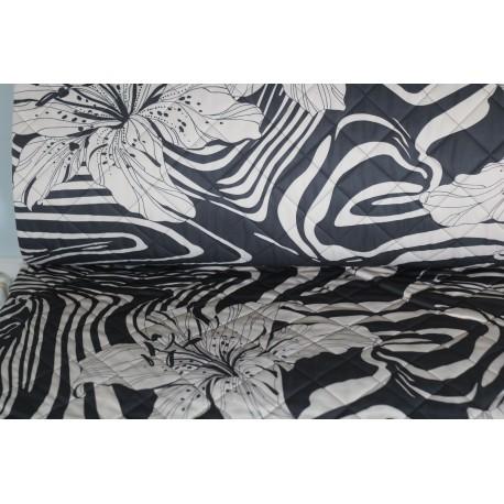 Stepp Quilt, Floral - schwarz, cream