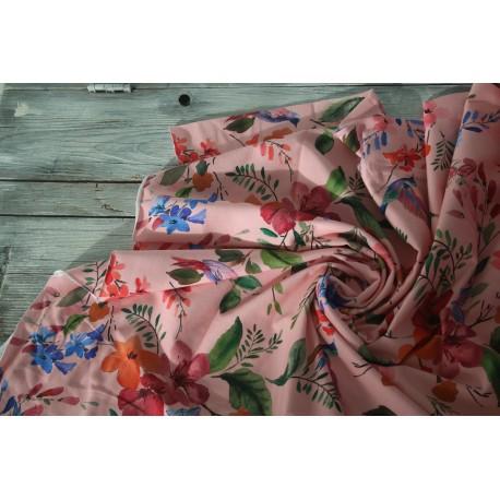 Baumwolljersey - Lovely Spring Bird, rosa