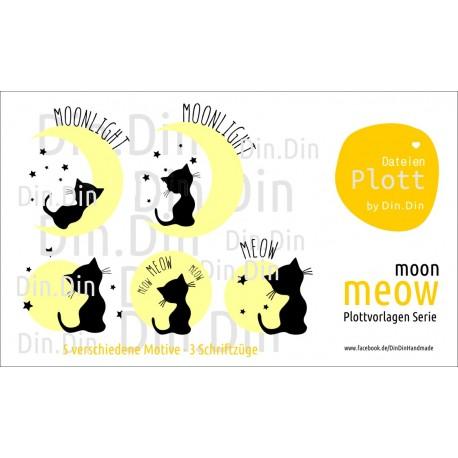 Plottervorlage Plotterdatei Meow - Moon