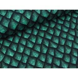 Baumwollsweat Basel Drachenschuppen, petrol