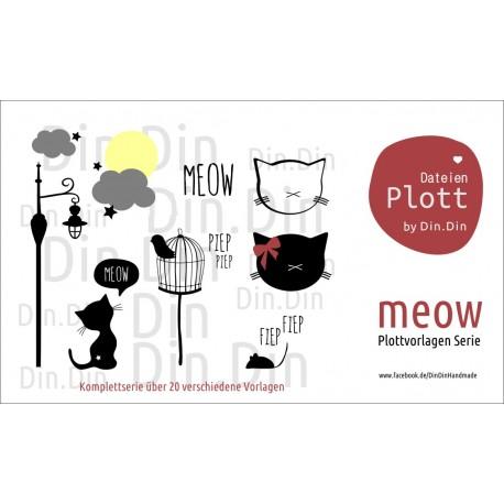 Plottervorlage Plotterdatei Meow Komplettserie