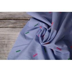 Baumwolle bestickt - Embroidery blau/neon