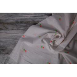 Baumwolle bestickt - Embroidery weiß/neon