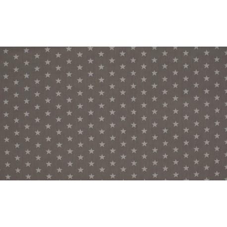 Baumwolljersey - grau / weiße Sterne