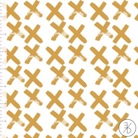 Baumwolljersey - Crosses gold - Design von Elvelyckan