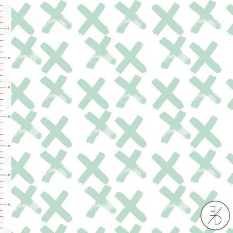 Baumwolljersey - Crosses mint - Design von Elvelyckan