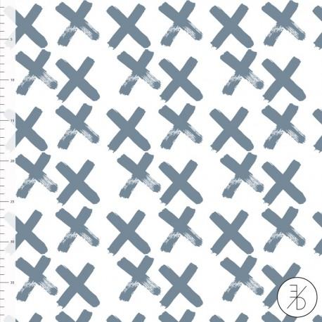 Bio-Baumwolljersey - Crosses blau - Design von Elvelyckan